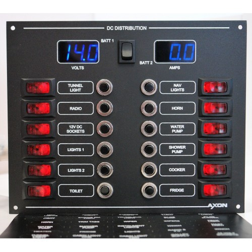 12 Way Illuminated Mini-Switch Circuit Breaker Panel with Digital Volt and ammeter