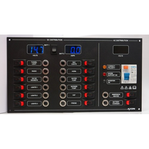 14 Way AC/DC Circuit Breaker & Switch Panel, Meters, RCD