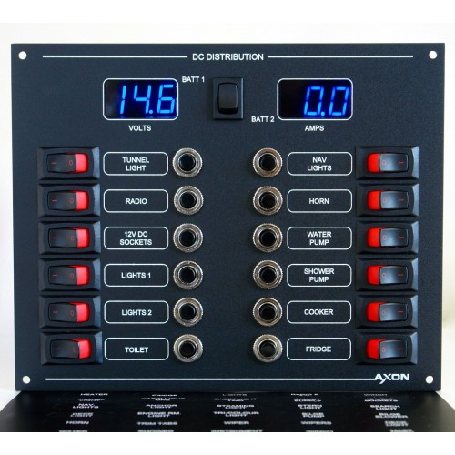 12 Way Mini-Switch Circuit Breaker Panel with Digital Volt & Ammeter