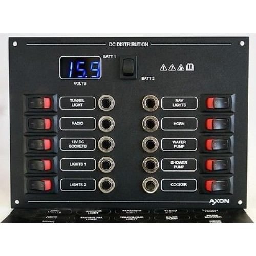 10 Way Mini-Switch Circuit Breaker Panel with Digital Voltmeter