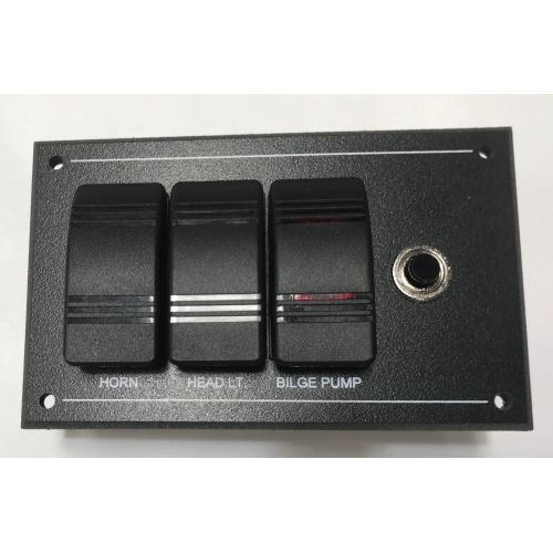 3 Way  Switch Panel  With 10a Cb - Marine / Boat / Narrowboat