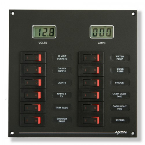 12-Way DC panel with Volt and Ammeter