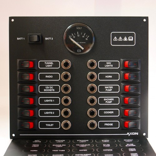 12 Way Mini-Switch Circuit Breaker Panel with Volvo Voltmeter